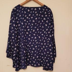 Lane Bryant Blue Floral ruffle sleeve blouse 22/24